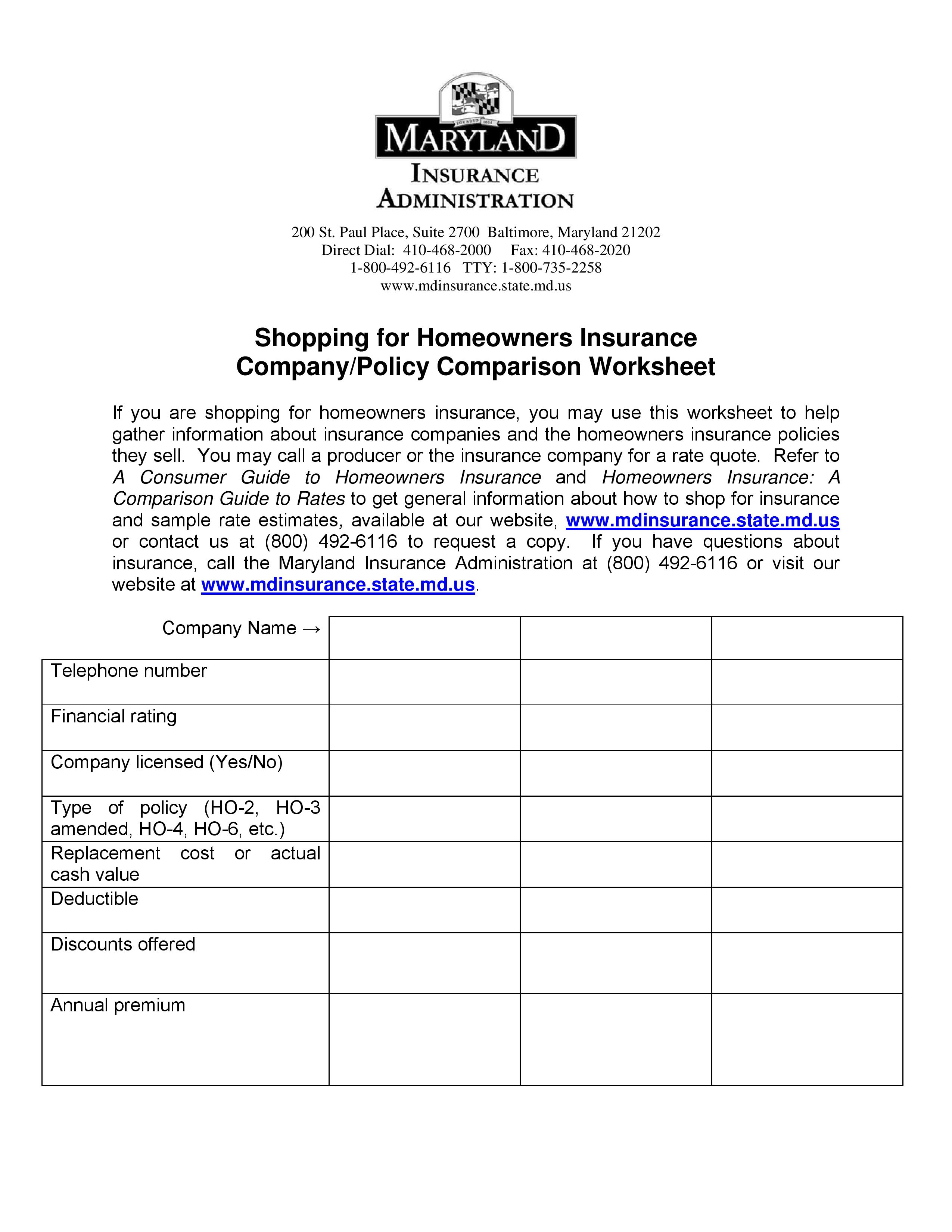 Homeowner's Insurance Shopping Worksheet - Use this worksheet to ...